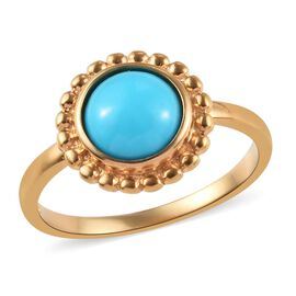 1.15 Ct Arizona Sleeping Beauty Turquoise Floral Solitaire Ring in Gold Plated Sterling Silver