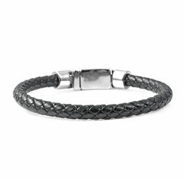 Genuine Braided Leather Bracelet (Size 8) in Stainless Steel - Black