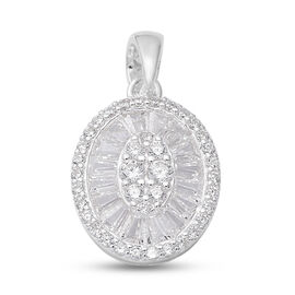 ELANZA Simulated Diamond Pendant Sterling Silver
