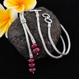 African Ruby Adjustable Lariat Necklace (Size 22) in Sterling Silver 32.50 Ct, Silver wt 24.50 Gms