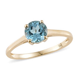 9K Yellow Gold Swiss Blue Topaz (Rnd) Solitaire Ring 1.000 Ct.