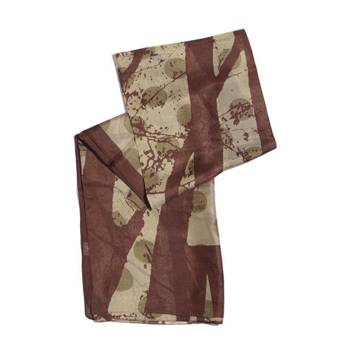 100% Mulberry Silk Dark and Light Brown Colour Abstract Pattern Printed Pareo (Size 180x100 Cm)