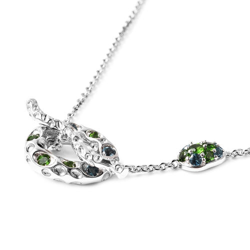 RACHEL GALLEY Misto Collection - AA Russian Diopside and London Blue Topaz Necklace (Size 20) in Rhodium Overlay Sterling Silver