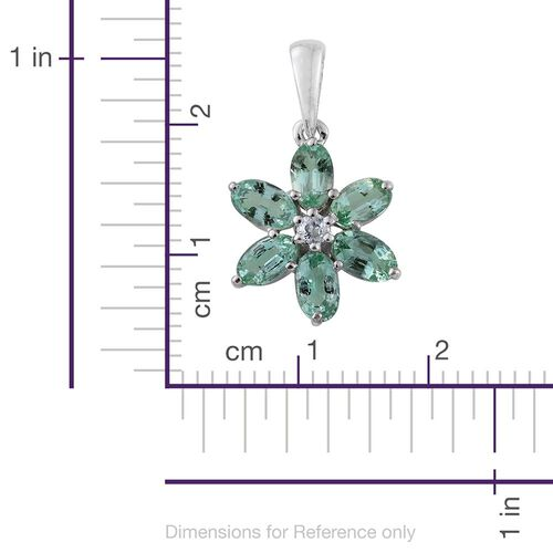 9K White Gold AA Boyaca Colombian Emerald (Ovl), Natural Cambodian Zircon Flower Pendant 1.370 Ct.