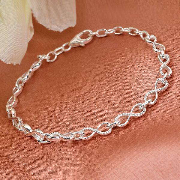 Designer Inspired - Sterling Silver Infinity Knot Bracelet (Size 8), Silver wt 6.70 Gms.