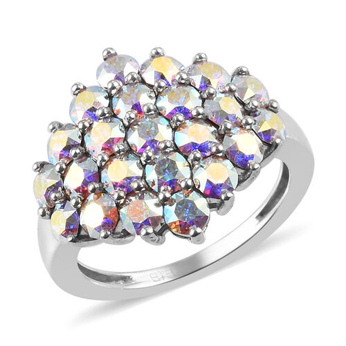 J Francis AB Crystal from Swarovski Cluster Ring in Silver Tone