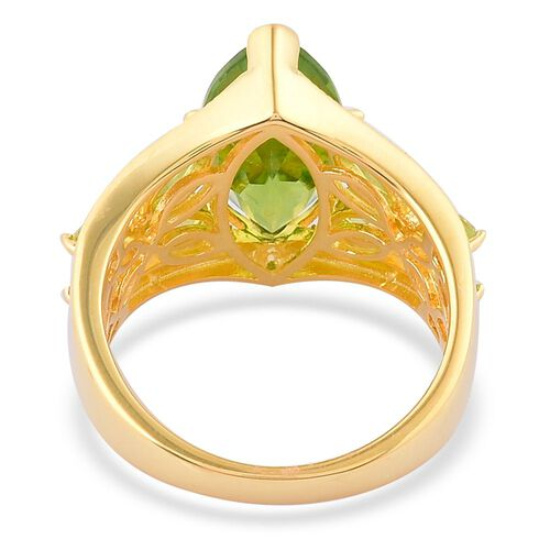 Hebei Peridot (Mrq 4.25 Ct), Natural Cambodian Zircon Ring in Yellow Gold Overlay Sterling Silver 5.610 Ct.