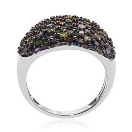 1 Carat Multi Color Diamond Cluster Ring in Platinum Plated Silver