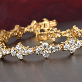 J Francis - 14K Gold Overlay Sterling Silver Bracelet (Size 7.5) Made with SWAROVSKI ZIRCONIA 22.03 Ct, Silver wt 14.00 Gms