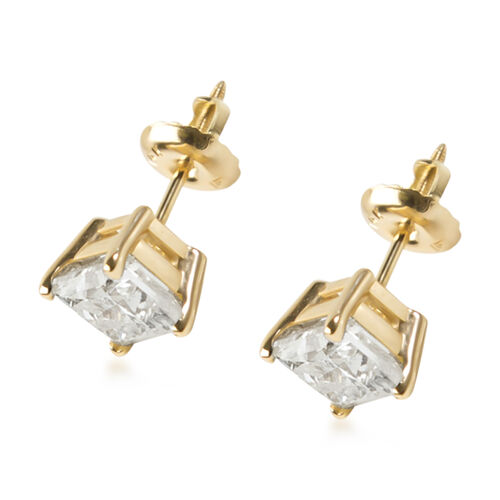 NY Close Out Deal- 14K Yellow Gold Diamond (Princess Cut) (I2/G-H) Earrings (with Screw Back) 2.00 Ct.