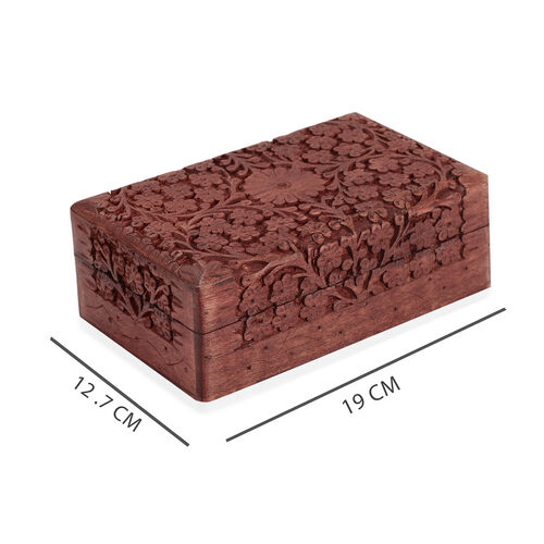 3 Piece Set- Handcrafted Full Carved Flower Nested Boxes In Mango Wood  (Small Size 5.3x2.25x1.25 Cm),(Medium Size 6.7x3.5x2) and (Large 8x5x2.75 Cm)