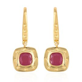 Rachel Galley 1.97 Ct African Ruby and Burmese Ruby Drop Earrings in Gold Plated Silver