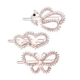 Set of 3 - White Austrian Crystal Peacock, Heart and Butterfly Shape Hair Clips with Gift Box in Gol