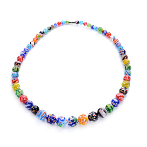 3 Piece Set - Multi Colour Murano Style  Glass Necklace (Size 20 with Magnetic Lock), Stretchable Bracelet (Size 6.5) and Hook Earrings