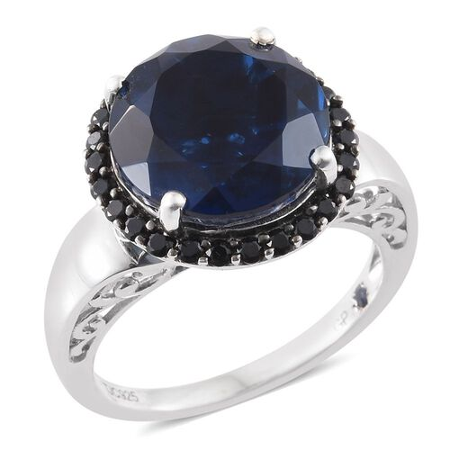 GP Ceylon Colour Quartz (Rnd 10.75 Ct), Boi Ploi Black Spinel and Kanchanaburi Blue Sapphire Ring in Platinum Overlay Sterling Silver 11.500 Ct.
