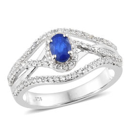 1.36 Ct Blue Spinel and Natural Cambodian Zircon Ring in Platinum Plated Sterling Silver