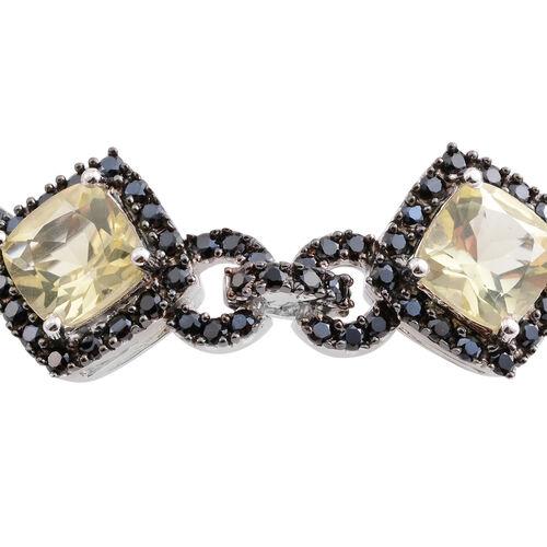 Lemon Quartz (Cush), Boi Ploi Black Spinel Bracelet (Size 7) in Black Rhodium Plated Silver 21.080 Ct. Silver wt 14.00 Gms. Number of Gemstone 272