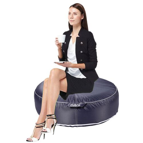 Indoor Outdoor Inflatable Round Pouffe (Size 97x97 Cm) - Grey