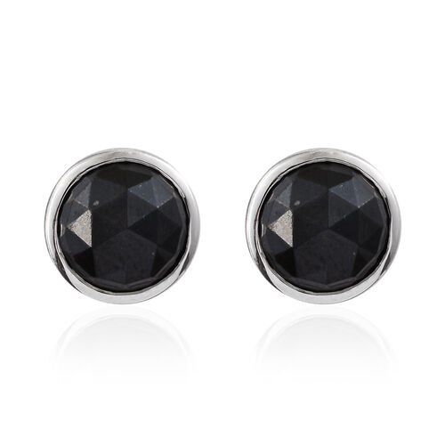 Black Tourmaline (Rnd) Cufflink in Platinum Overlay Sterling Silver   5.750 Ct, Silver wt 6.33 Gms.