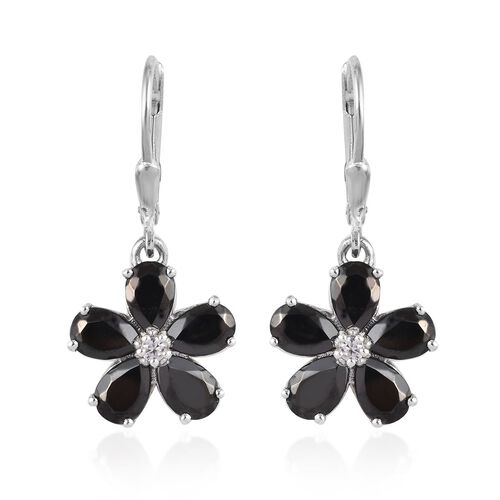 Elite Shungite (Pear), Natural Cambodian Zircon Floral Earrings in Platinum Overlay Sterling Silver