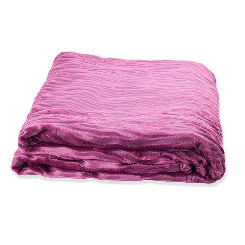 Foil Printed Purple Colour Zebra Pattern Flannel Blanket (Size 160x200 cm)