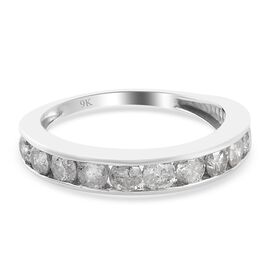 9K White Gold SGL Certified Diamond (I3/G-H) Half Eternity Band Ring 1.00 Ct