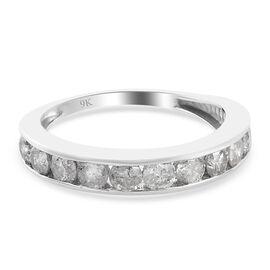 WEBEX 9K White Gold SGL Certified Diamond (I3/G-H) Half Eternity Band Ring 1.00 Ct