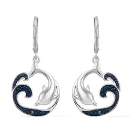 Blue Diamond (Rnd) Dolphin Earrings (with Lever Back) in Blue and Platinum Overlay Sterling Silver 0
