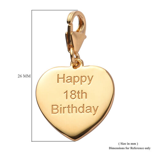 14K Gold Overlay Sterling Silver Happy 18th Birthday Charm
