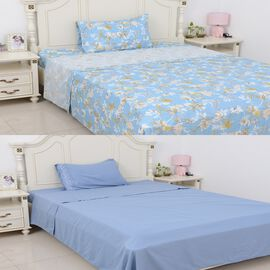 6 Piece Set  - 2xFitted Sheet, 2xFlat Sheet and 2x Pillow Case - Blue - Single