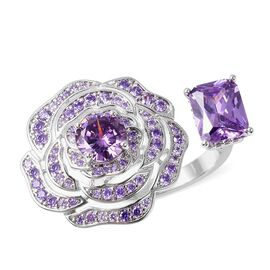 Simulated Amethyst (Oct 9x7 mm) Rose Ring (Size M) in Silver Plated