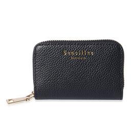 Sencillez - Genuine Leather Card Holder RFID Wallet with Zipper Closure (Size 11x2x7cm) - Black