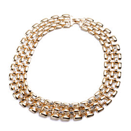 Designer Inspired- White Crystal- Panther Link Necklace (Size 20) in Gold Tone