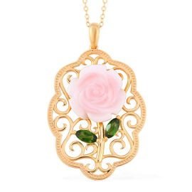 Jardin Collection - Pink Mother of Pearl and Russian Diopside Rose Pendant With Chain (Size 18) in Y