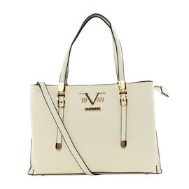 19V69 ITALIA by Alessandro Versace Litchi Pattern Handbag with Detachable Shoulder Strap and Zipper Closure (Size 33x11x22 Cm) - White
