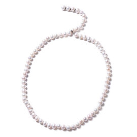 Freshwater Pearl (Rnd) Necklace (Size 29 Adjustable) in Rhodium Overlay Sterling Silver