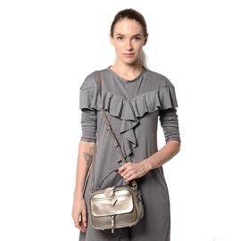 HONG KONG CLOSE OUT DEAL- 100% Genuine Leather Antique Silver Colour Crossbody Bag with External Zip