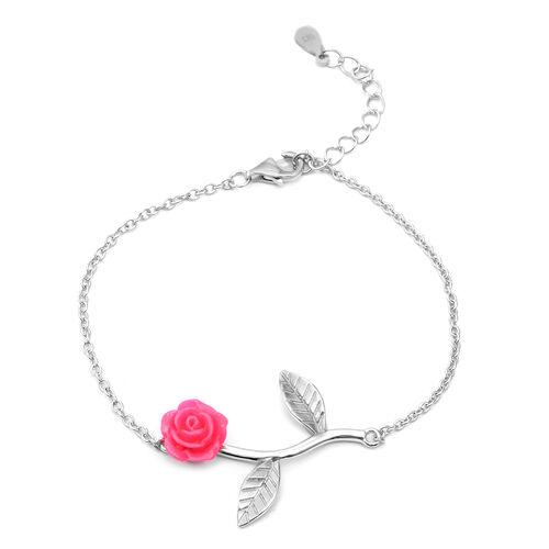 Designer Inspired- Sterling Silver Pink Flower Adjustable Bracelet (Size 6.5 with 1 inch Extender)