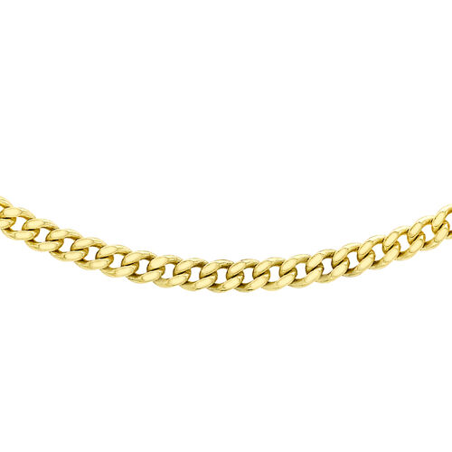 Diamond Cut Curb Necklace in 9K Yellow Gold 18 Inch