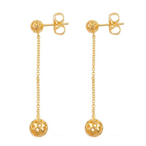 RACHEL GALLEY Yellow Gold Overlay Sterling Silver Mini Globe Drop Earrings (with Push Back)