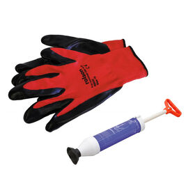 2 Piece Set - Rolson Waste Pipe Blast Unblocker With Rolson Nitrile Coated Work Gloves Large Colour Red and Black
