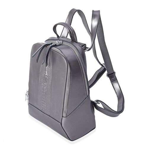 100% Genuine Leather Croc Embossed Backpack with Double Zip Closure and Adjustable Shoulder Strap (Size 26x10.5x32.5 Cm) - Grey