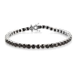 8 Carat Shungite Tennis Bracelet in Platinum Plated Sterling Silver 9.88 Grams 7.5 Inch