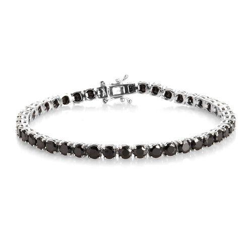 8 Carat Shungite Tennis Bracelet in Platinum Plated Sterling Silver 9.88 Grams 7.5 Inch