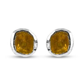 Yellow Polki Diamond Stud Earrings (with Push Back) in Sterling Silver 0.50 Ct.