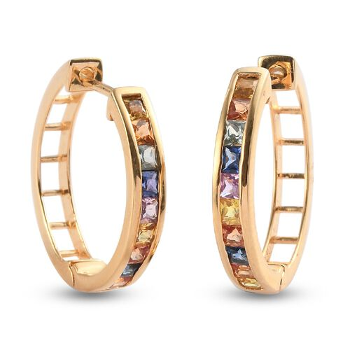 Rainbow Sapphire Full Hoop Earrings (with Clasp) in 14K Gold Overlay Sterling Silver 2.11 ct.