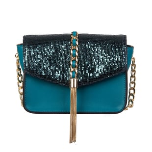 Bulaggi Collection - Calla Crossbody Bag with Metallic Pattern Flap and Adjustable Shoulder Strap (17x13x8cm) - Emerald Green Colour
