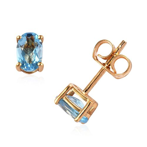Set of 7  - Blue Topaz (Ovl), Multi Gemstone Stud Earrings (with Push Back) in 14K Gold Overlay Sterling Silver 6.75 Ct, Silver wt 5.10 Gms