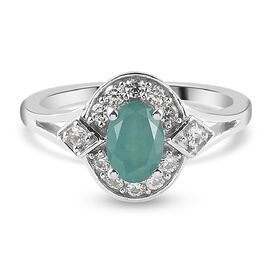 Grandidierite and Natural Cambodian Zircon Ring in Platinum Overlay Sterling Silver 1.14 Ct.