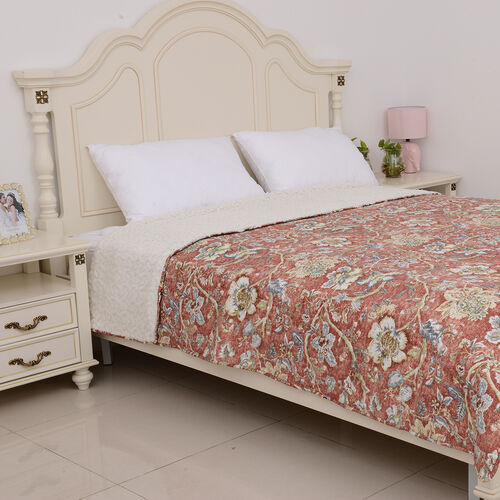 Single Size Chintz Print Sherpa Quilt (180x240 cm) in Red and Multi Colour